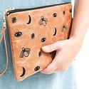 Zana Midnight Leather Clutch