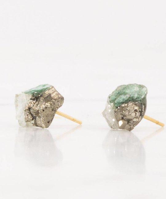 Dear Survivor Serpentine Cluster Studs with Ziosite, Pyrite, and Green Fluorite