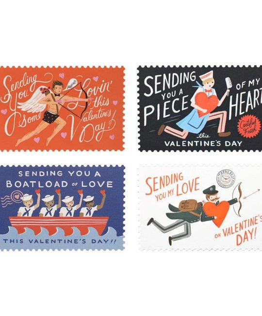 Rifle Paper Co. Share the Love Assorted Valentines Day Postcard set of 12