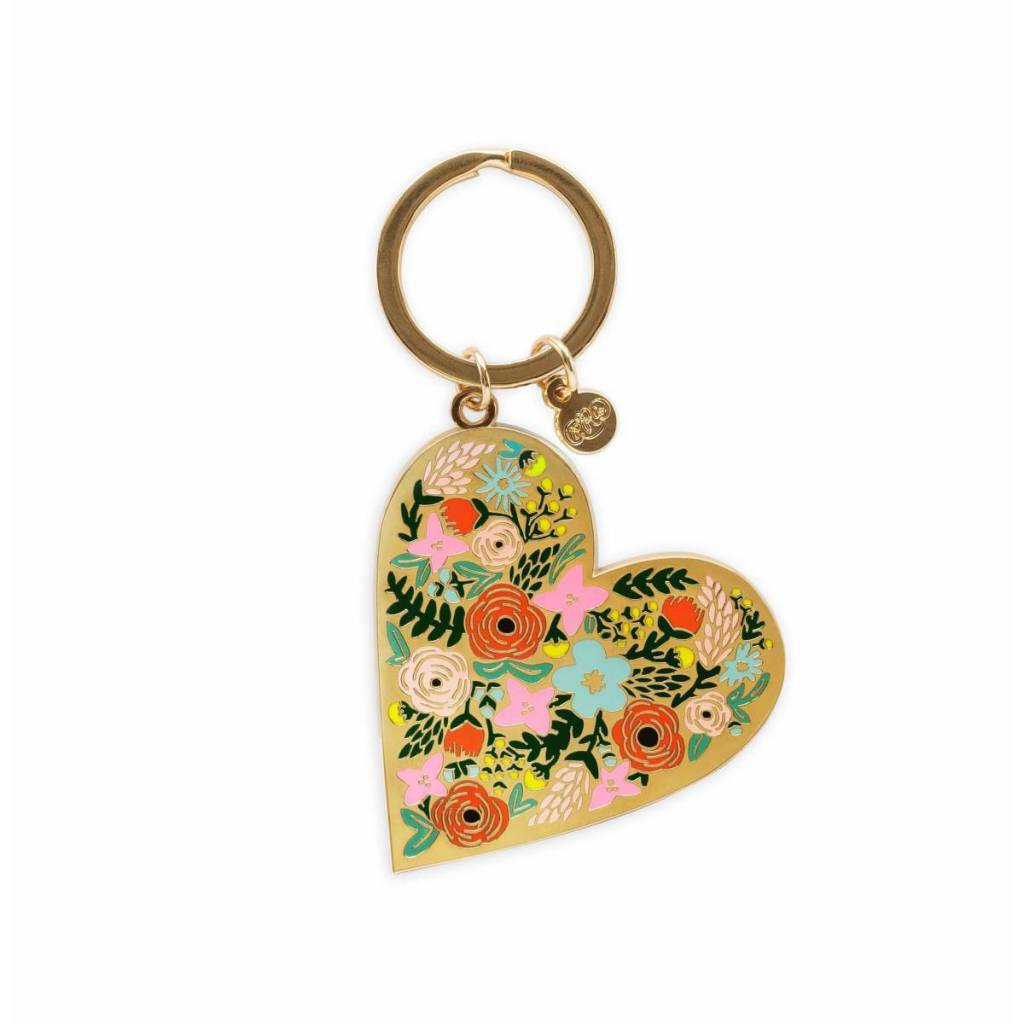 Rifle Paper Co. Floral Heart Enamel Keychain
