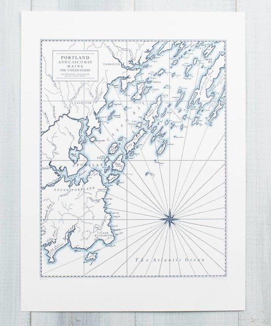 Quail Lane Press - QLP Portland Maine Letterpress Map Print