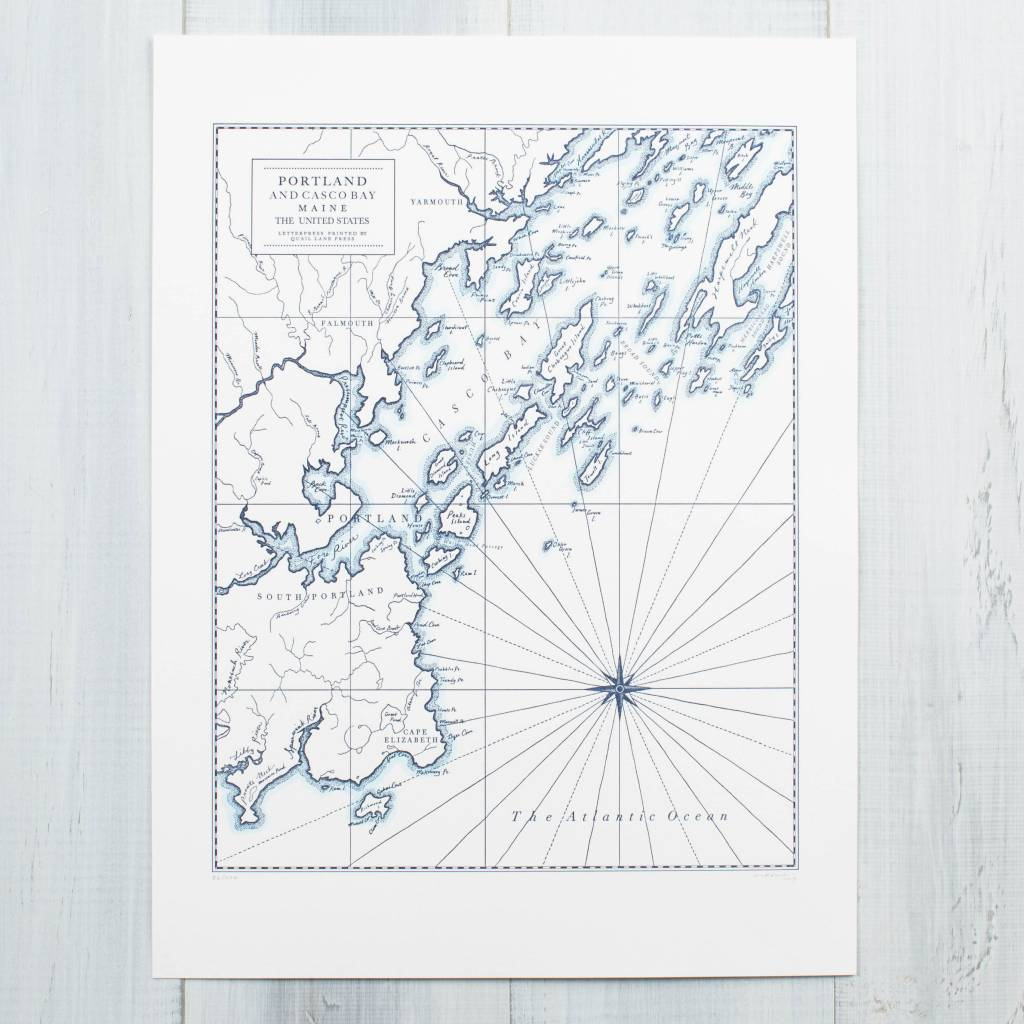 Quail Lane Press - QLP Portland Maine Letterpress Map Print