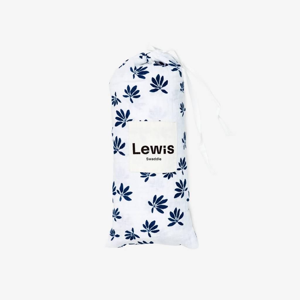 Lewis Home Palm Captain's Blue Organic Swaddle