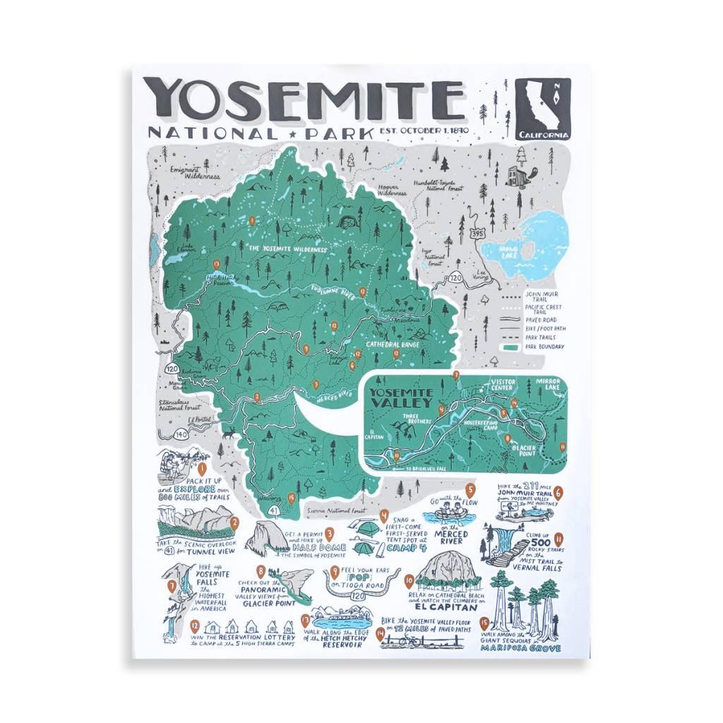 """Brainstorm Print and Design Yosemite Map Screen Print 18""""x24"""""""