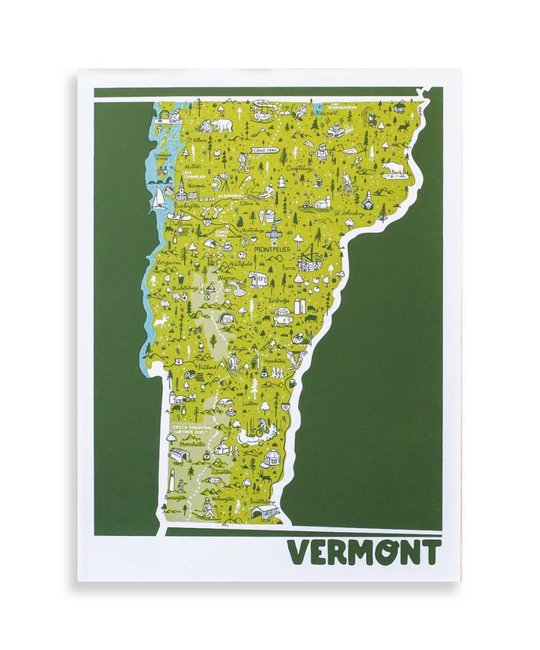 "Brainstorm Print and Design - BS Vermont Map Screen Print 18""x24"""