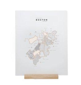 42 Pressed 42PPRSM - Boston Map Foil Print, 16x20
