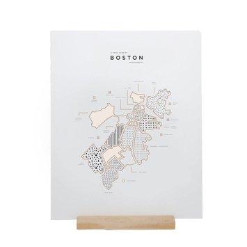 "42 Pressed - 42P 42P PRLA - Boston Map Foil Print, 16"" x 20"""