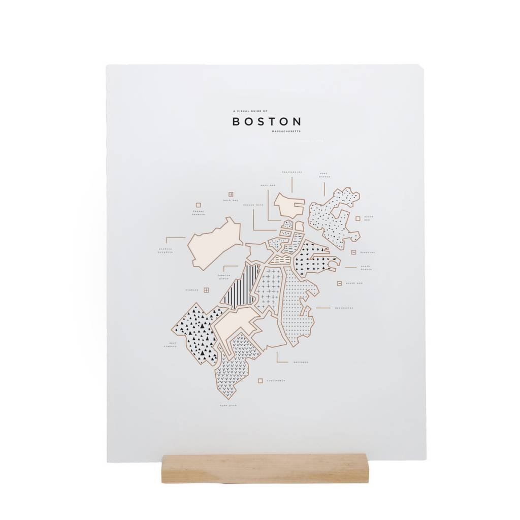 42 Pressed 42P PRLA - Boston Map Foil Print, 16 x 20 inch