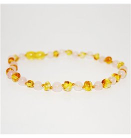 The Amber Monkey The Amber Monkey Baltic Amber & Gemstone Necklace - Lemon & Rose Quartz