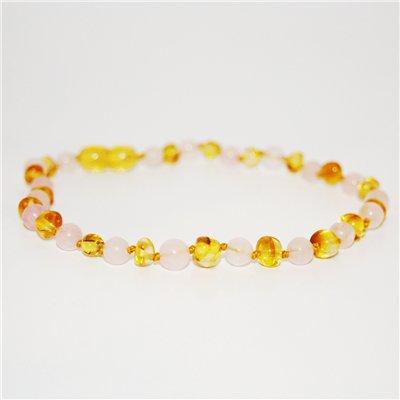 The Amber Monkey The Amber Monkey Baltic Amber & Gemstone Necklace - Lemon & Rose Quartz