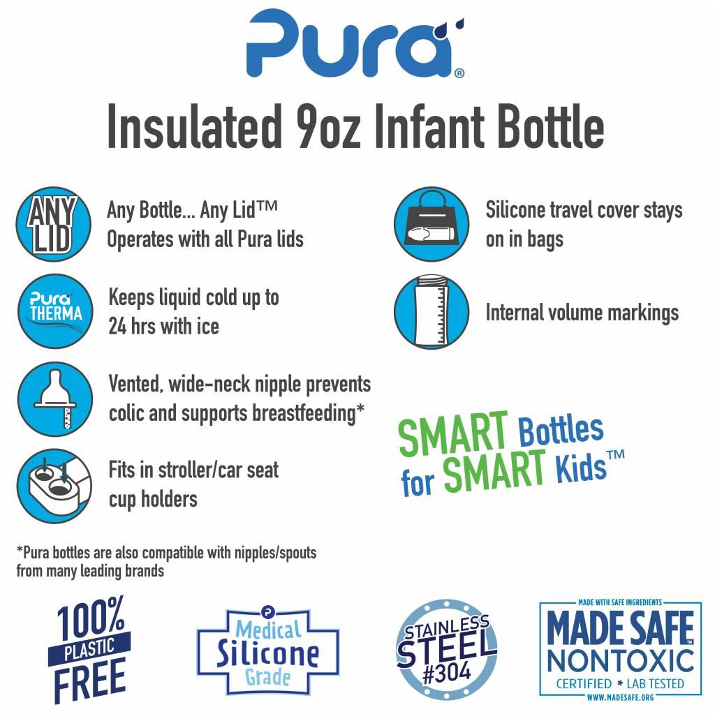 Pura Pura Kiki 9oz Insulated Infant Bottle