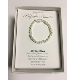 Collectables America Newborn Keepsake Bracelet - Pearl & Sterling Silver