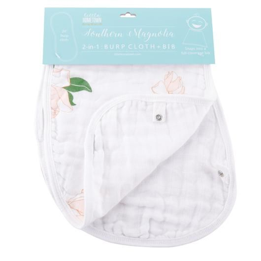Little Hometown Southern Magnolia Bamboo 2-in-1 Burp Cloth & Bib