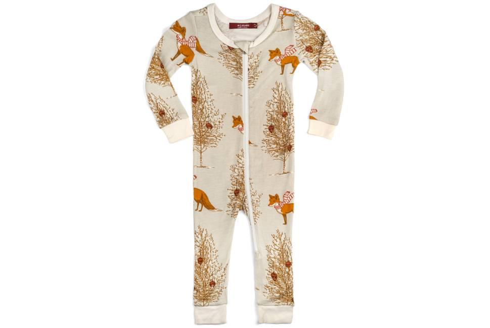 Milkbarn Milkbarn Bamboo Zipper Pajama - Winter Fox