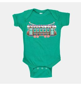 Bon Temps Boutique Gingerbread Streetcar Onesie- Green