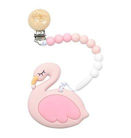 glitter and spice Glitter & Spice Silicone Clip On Teether - Flamingo