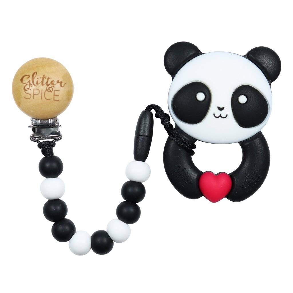 glitter and spice Glitter & Spice Silicone Clip On Teether- Kawaii Panda