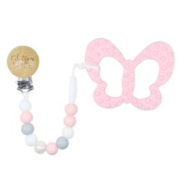 glitter and spice Glitter & Spice Silicone Clip On Teether - Pink Butterfly