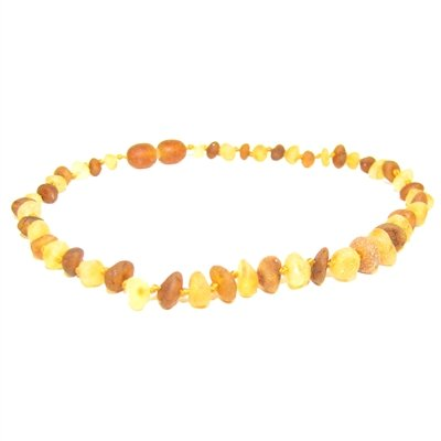 The Amber Monkey The Amber Monkey 12-13 in. Amber Teething Necklace - Pop Clasp - Raw