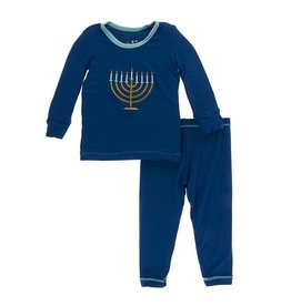 KicKee Pants KicKee Pants Long Sleeve PJ Set - Navy Menorah