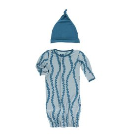 KicKee Pants KicKee Pants Layette Converter Gown & Knot Hat Set- Jade Sea Grapes