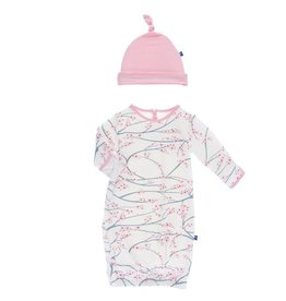 KicKee Pants KicKee Pants Layette Converter Gown & Knot Hat Set- Natural Japanese Cherry Tree