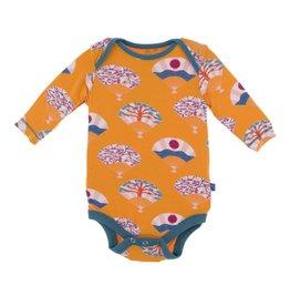 KicKee Pants KicKee Pants Long Sleeve Onesie- Apricot Fans