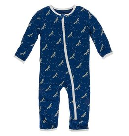KicKee Pants KicKee Pants Coverall with Zipper- Navy Dragonfly