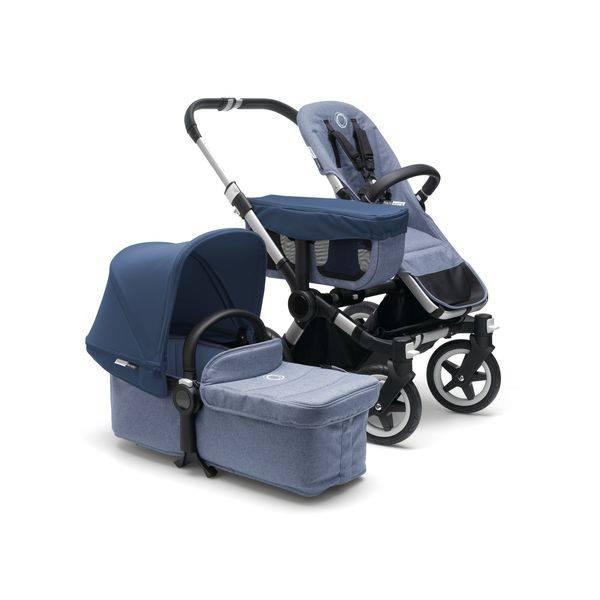 Bugaboo Bugaboo Donkey2 Duo Complete Aluminum/Blue Melange/Sky Blue