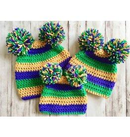 ZukaBaby Mardi Gras Double Pom-Pom Knit Caps (Newborn)