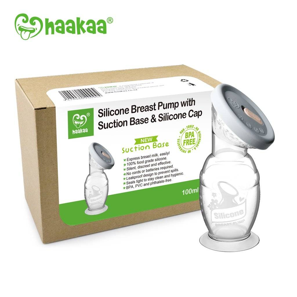 Haakaa Haaka Silicone Breast Pump with Silicone Cap & Suction Base (4oz)