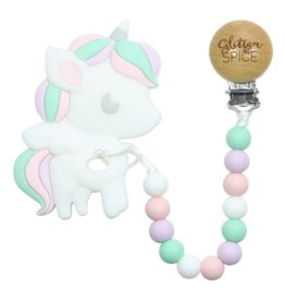 glitter and spice Glitter & Spice Silicone Clip On Teether - Unicorn