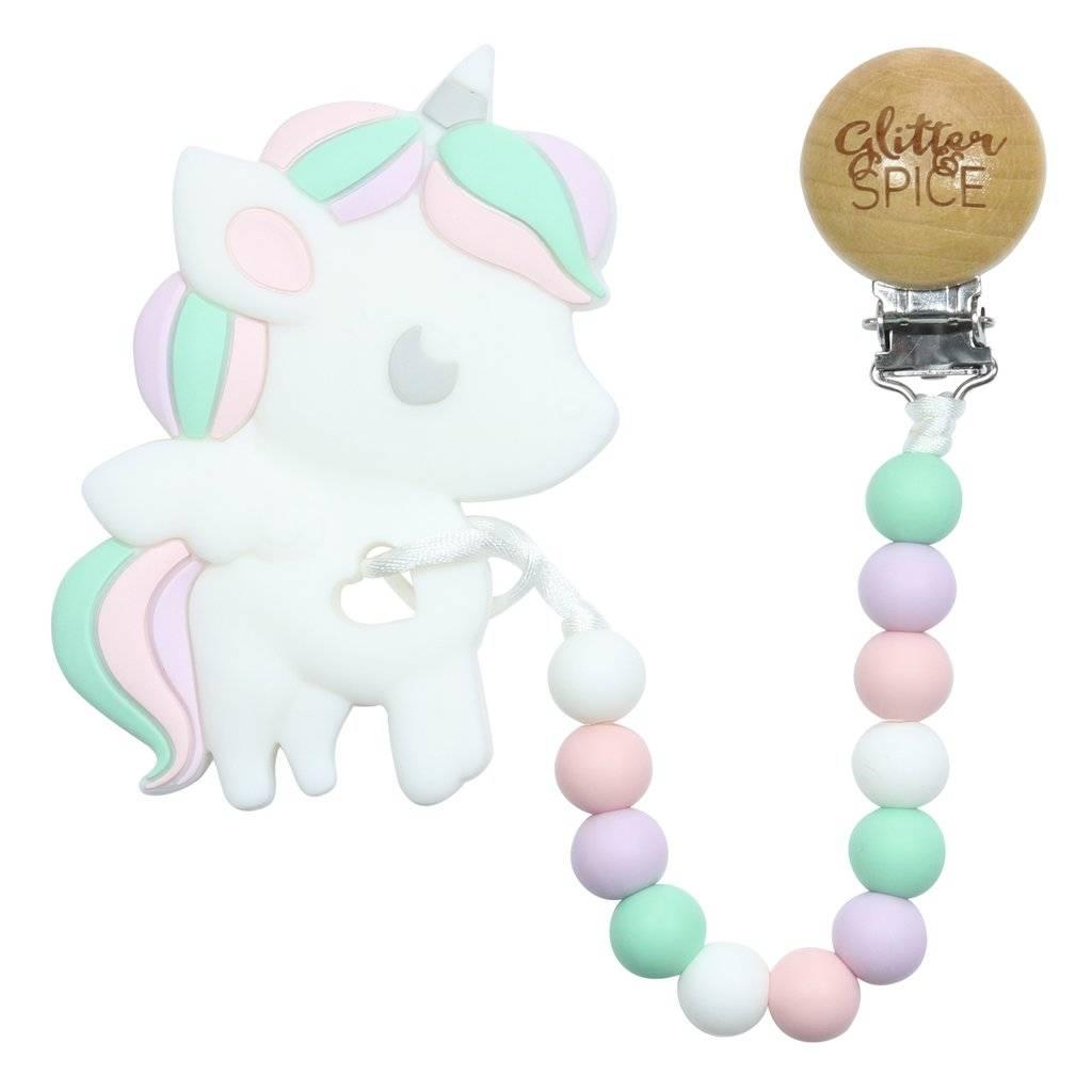 glitter and spice Glitter & Spice Silicone Clip On Teether - Unicorn
