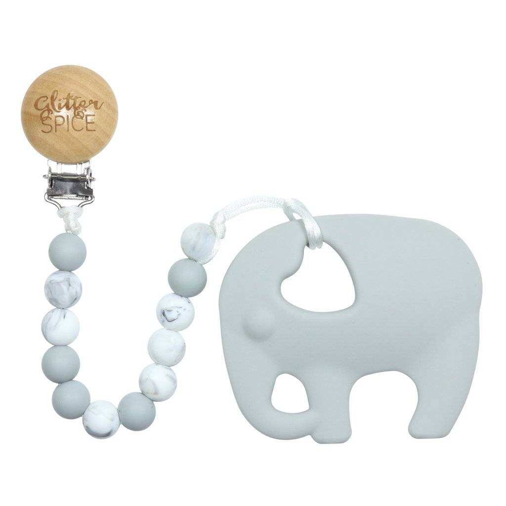 glitter and spice Glitter & Spice Silicone Clip On Teether - Grey Elephant