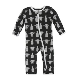 KicKee Pants KicKee Pants Coverall with Zipper - Zebra Tuscan Cow