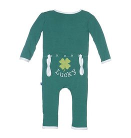KicKee Pants KicKee Pants Holiday Coverall in Shady Glade/Lucky Clover