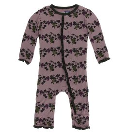 KicKee Pants KicKee Pants Ruffle Coverall with Zipper - Raisin Grape Vines