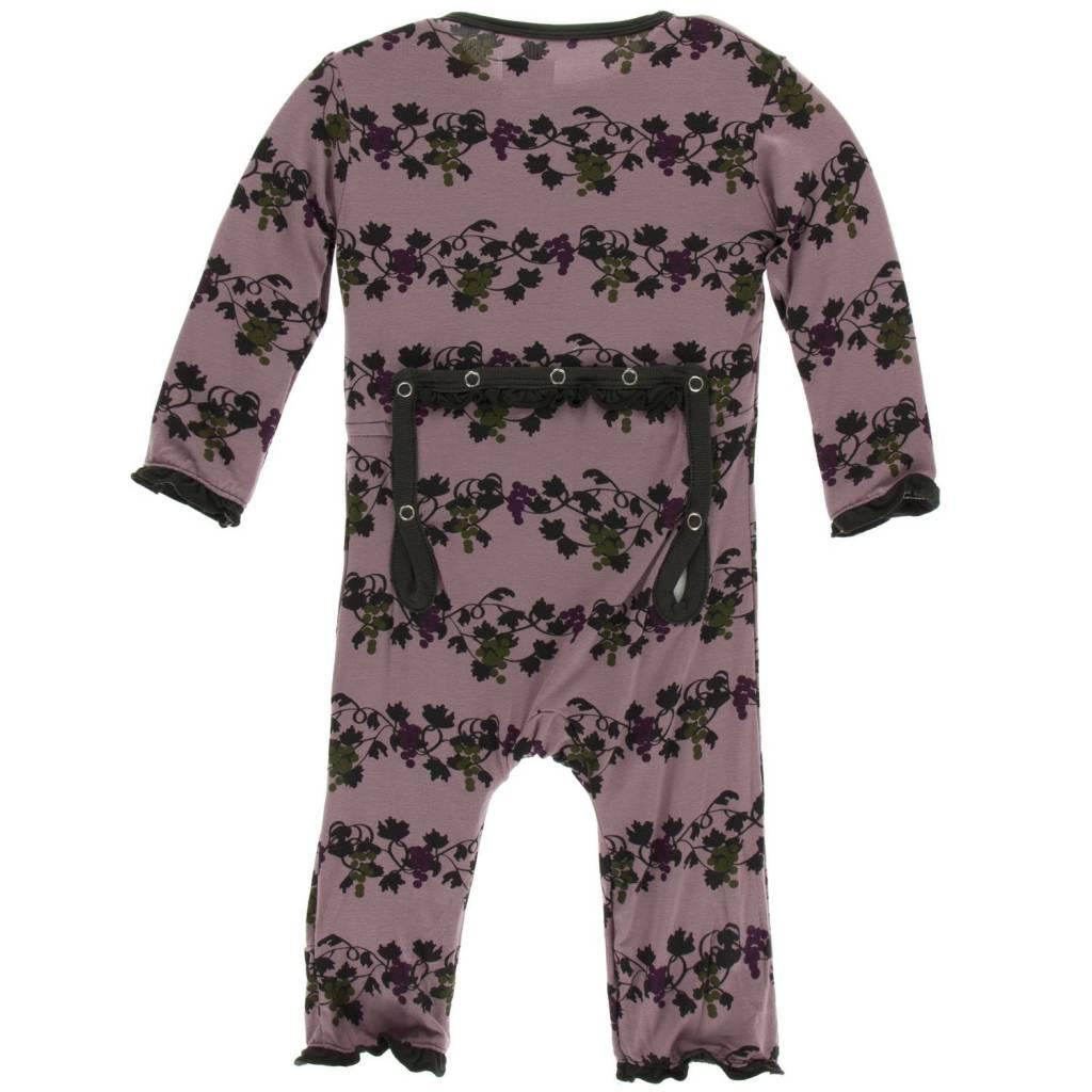 KicKee Pants KicKee Pants Ruffle Coverall with Zipper - Raisin Grape Vines