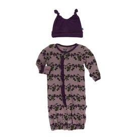 KicKee Pants KicKee Pants Ruffle Converter Gown & Double Knot Hat Set - Raisin Grape Vines