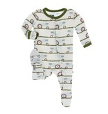 KicKee Pants KicKee Pants Footie with Zipper - Natural Tractor & Grass