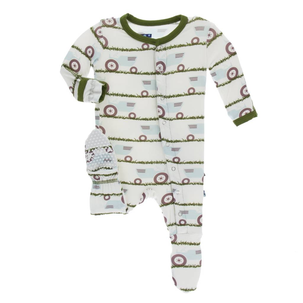 472df268549e KicKee Pants Footie with Zipper - Natural Tractor   Grass - ZukaBaby
