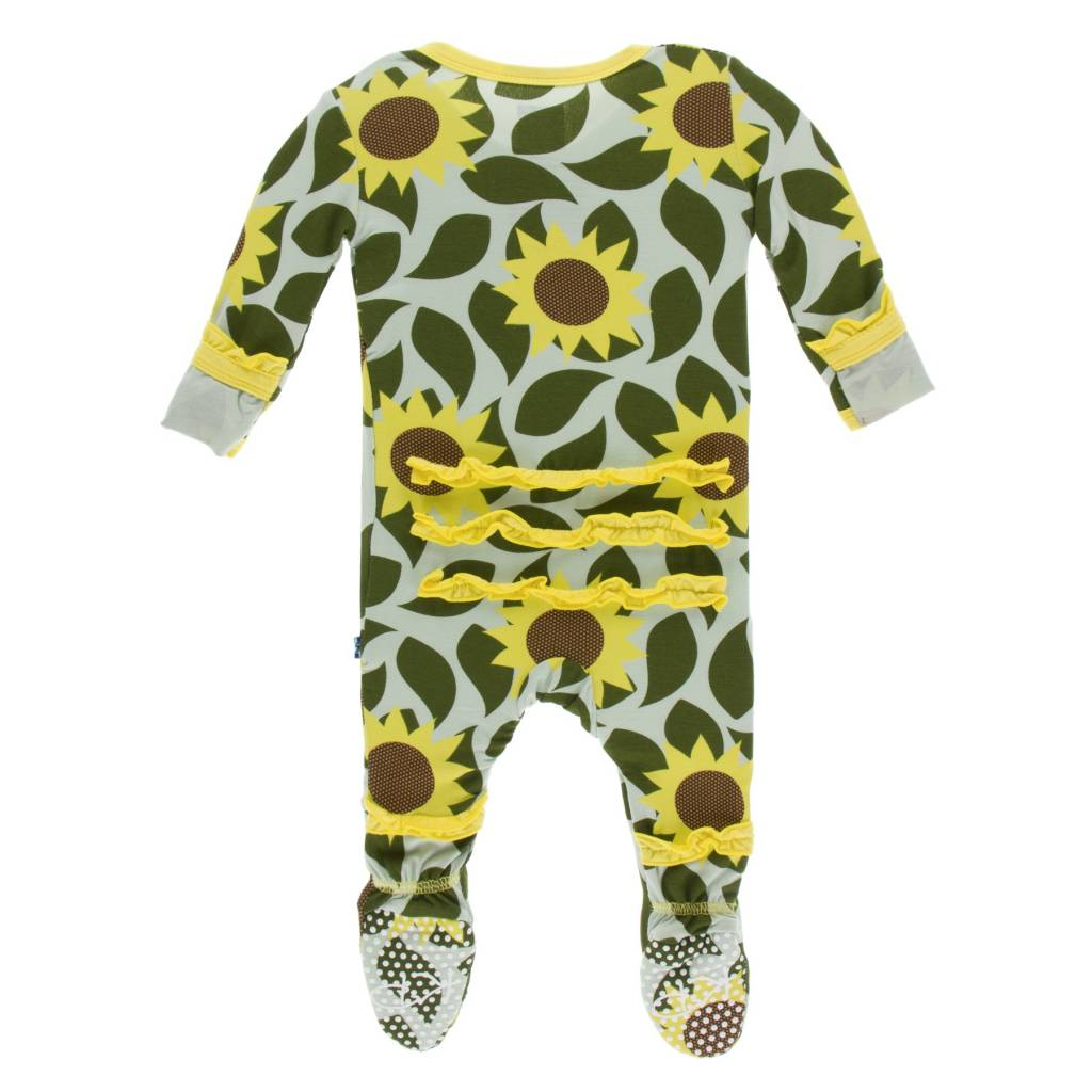 KicKee Pants KicKee Pants Ruffle Footie with Zipper - Aloe Sunflower