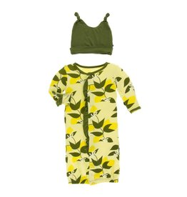KicKee Pants KicKee Pants Ruffle Converter Gown & Double Knot Hat Set - Lime Blossom Lemon Tree
