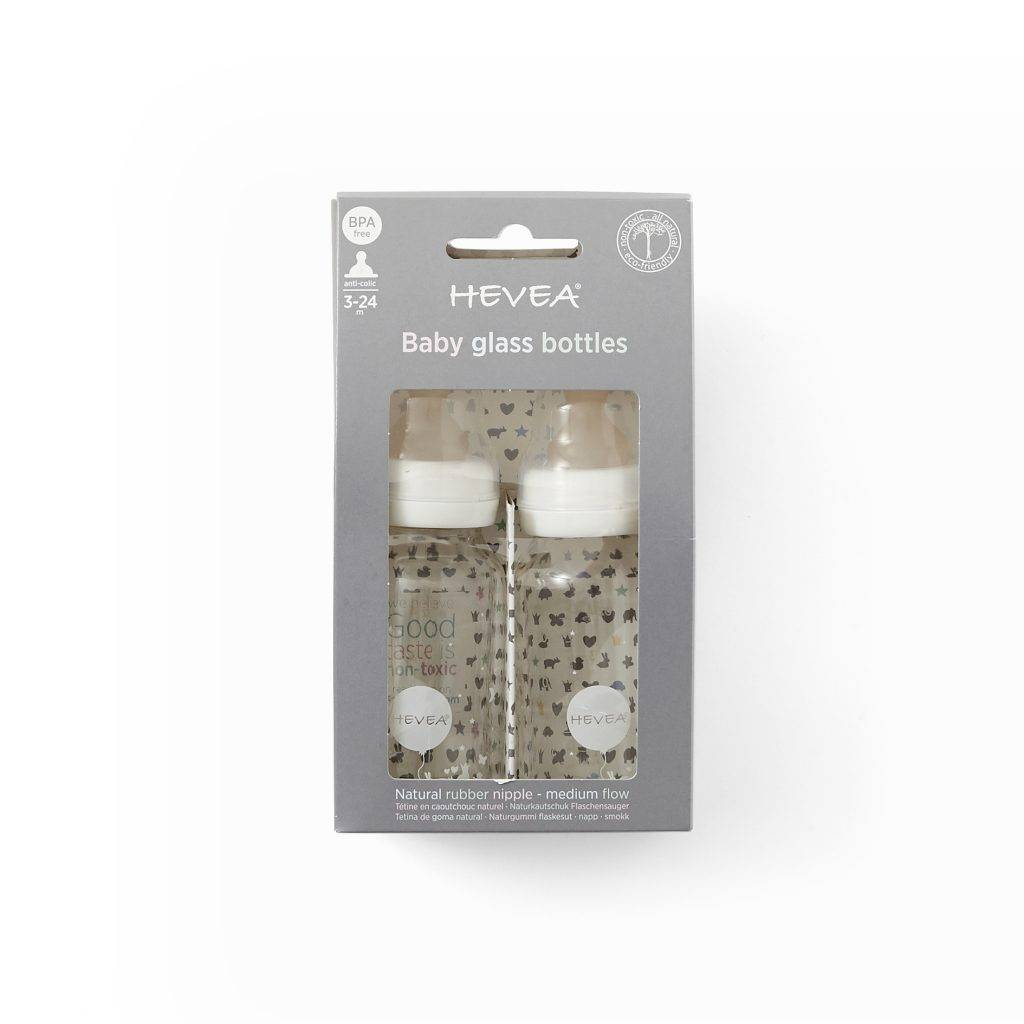 Hevea Hevea Baby Glass Bottle 2pack White