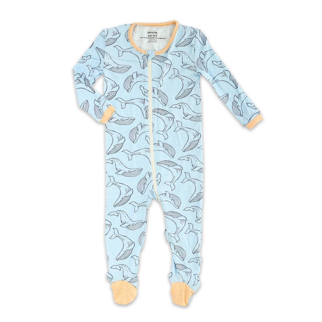 silkberry baby silkberry baby Bamboo Footed Sleeper w/ Zipper - Whale