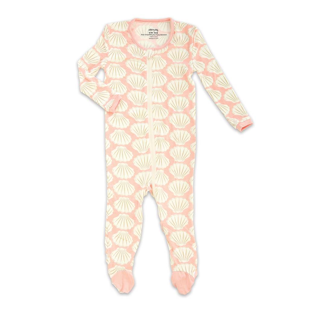 4d9701582 silkberry baby Bamboo Footed Sleeper w  Zipper - Seashell - ZukaBaby