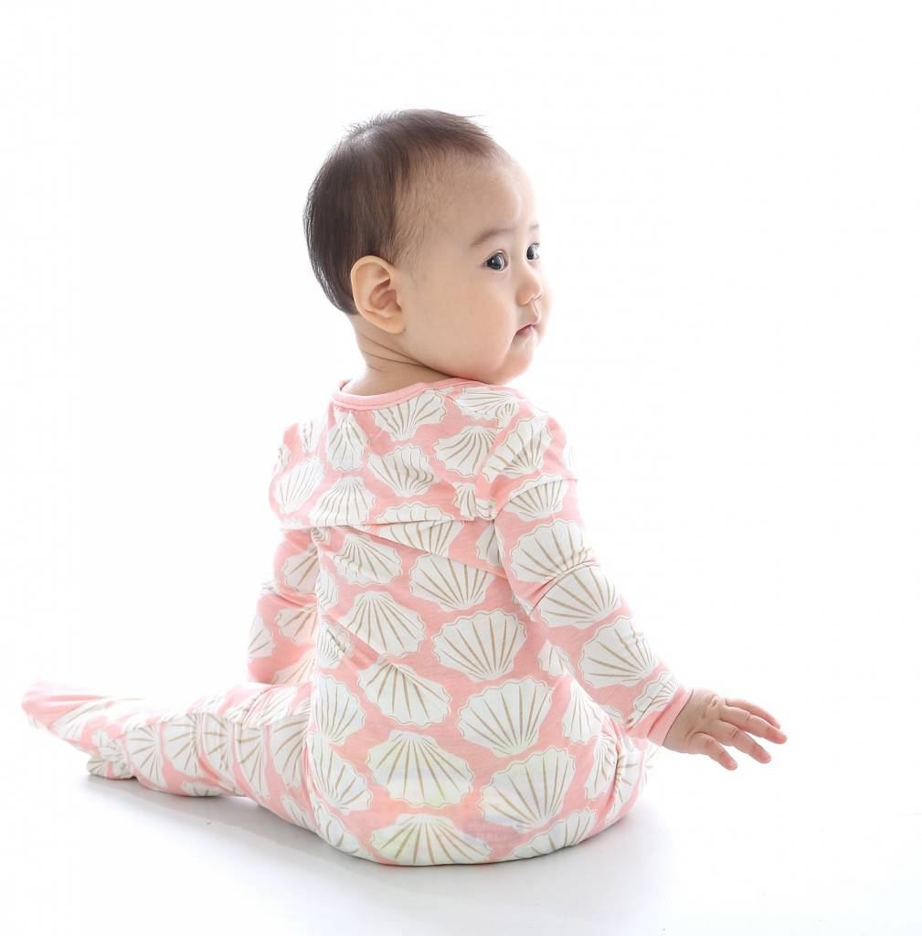 silkberry baby silkberry baby Bamboo Footed Sleeper w/ Zipper - Seashell