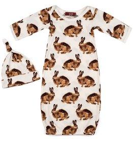 Milkbarn Milkbarn Newborn Gown & Hat Set - Bunny - 0-3 mo