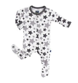 KicKee Pants KicKee Pants Essentials Print Footie - Feather/Rain Stars