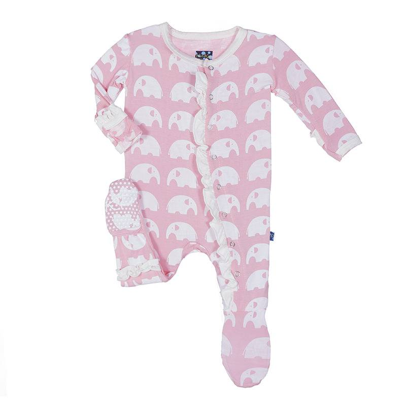 KicKee Pants KicKee Pants Essentials Print Classic Ruffle Footie with Zipper - Lotus Elephant